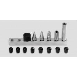 7/16' 6-pc screw-on tip set: 1' & 2' extensions, 1' softtip, 1' me dium tip, 1' pencil point, 3/4' ru
